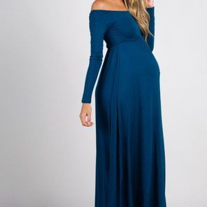Pinkblush Turquoise Solid Off Shoulder Maxi Dress